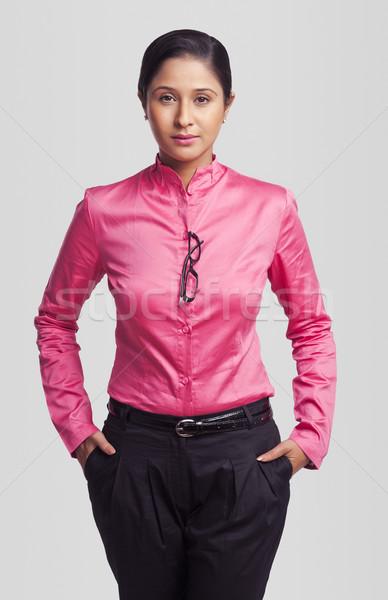 Retrato mujer de negocios manos negocios mujer fotografía Foto stock © imagedb