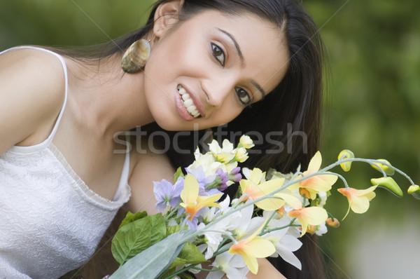 портрет букет цветы цветок девушки Сток-фото © imagedb