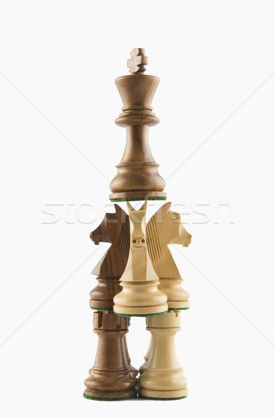 Pièces d'échecs cheval groupe jeu chevalier Photo stock © imagedb