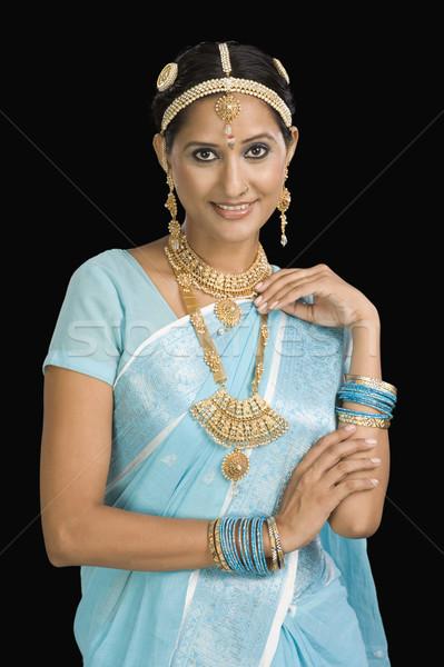Portre kadın takı gülen güzellik Stok fotoğraf © imagedb