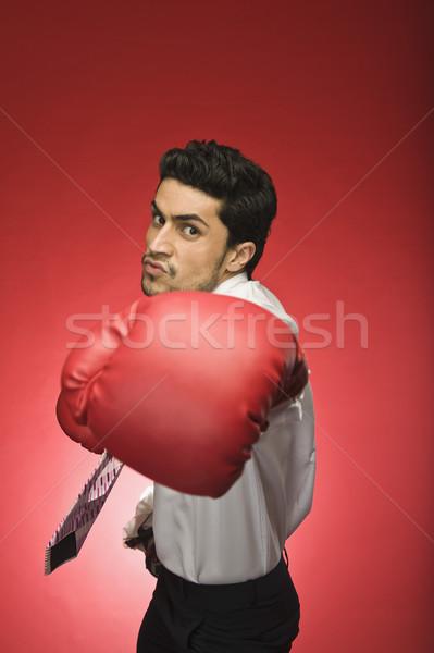 портрет бизнесмен боксерская перчатка человека спорт Сток-фото © imagedb