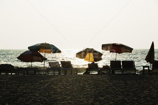 стульев пляж Гоа Индия воды Сток-фото © imagedb