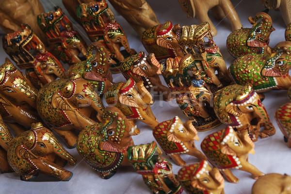 Elefantes mercado nova délhi grupo elefante escultura Foto stock © imagedb