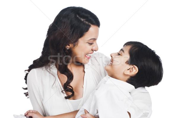 Stok fotoğraf: Mutlu · anne · oğul · gülen · aile · ebeveyn