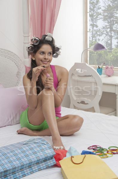 Mujer esmalte de uñas día moda Foto stock © imagedb
