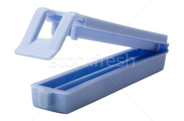 Közelkép táska kék műanyag fotózás gemkapocs Stock fotó © imagedb