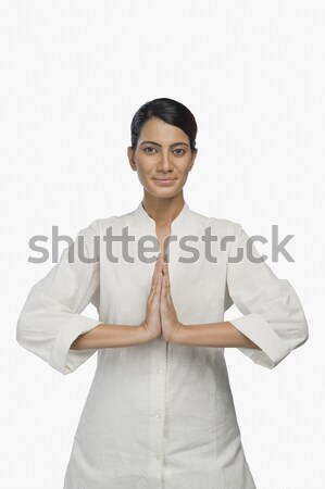 портрет женщину приветствие приветствую красивой Постоянный Сток-фото © imagedb