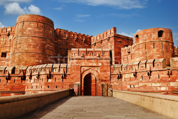 Tourists at entrance to Agra Fort, Agra, Uttar Pradesh, India Stock photo © imagedb