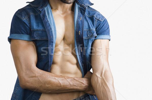 Közelkép macsó férfi test izom erő Stock fotó © imagedb