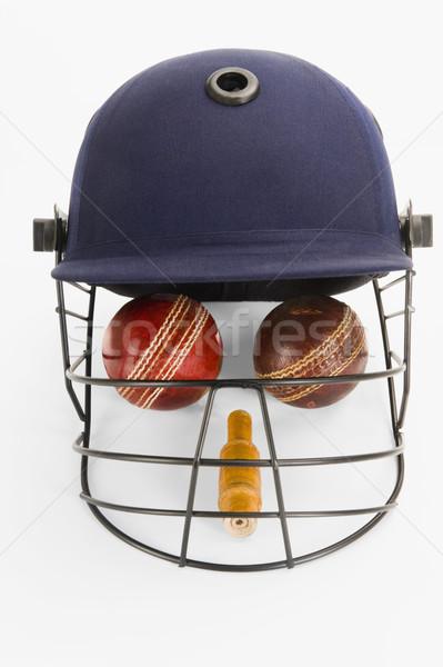 Cricket uitrusting menselijke gezicht sport veiligheid Stockfoto © imagedb
