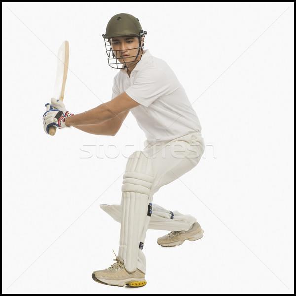 Cricket spelen man sport portret veiligheid Stockfoto © imagedb