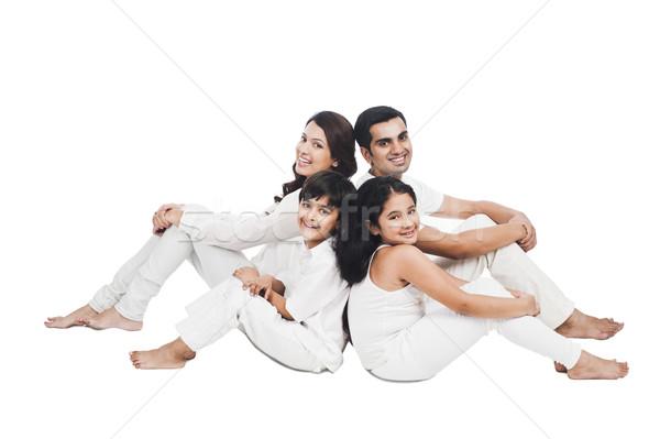 Portré boldog család ül együtt család jókedv Stock fotó © imagedb