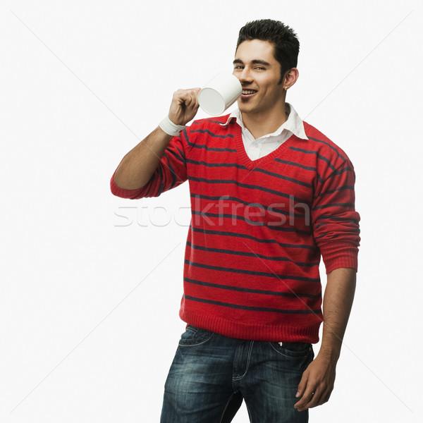 Portre adam fincan kahve içmek gülen Stok fotoğraf © imagedb