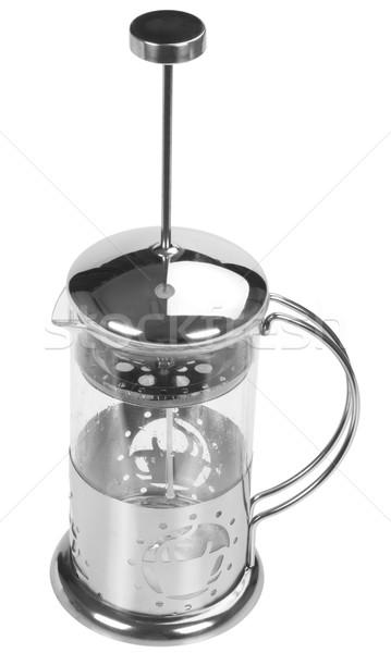 Сток-фото: кофеварка · белом · фоне · вертикальный