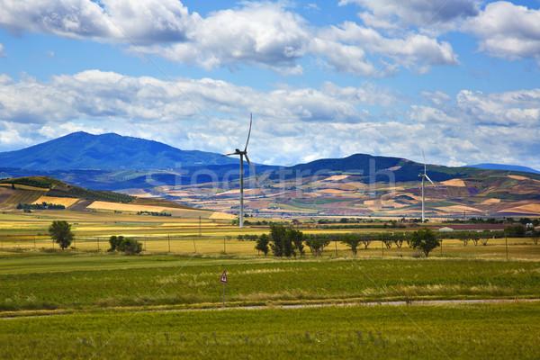 風力タービン フィールド 風景 山 緑 ファーム ストックフォト © imagedb