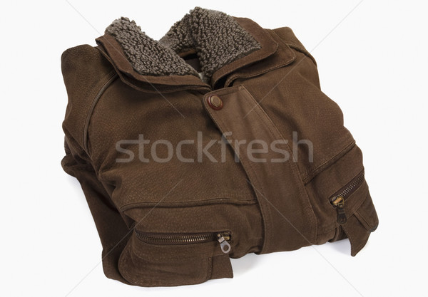 Közelkép kabát ruházat ruházat vízszintes fehér háttér Stock fotó © imagedb