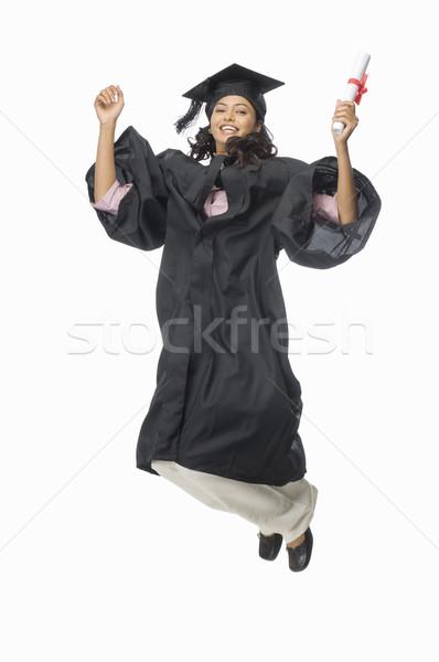 Retrato femenino posgrado diploma éxito Foto stock © imagedb