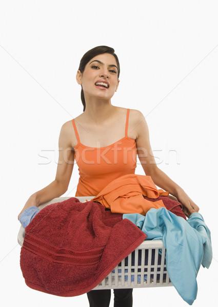 женщину корзина для белья чистой прачечной счастье Сток-фото © imagedb