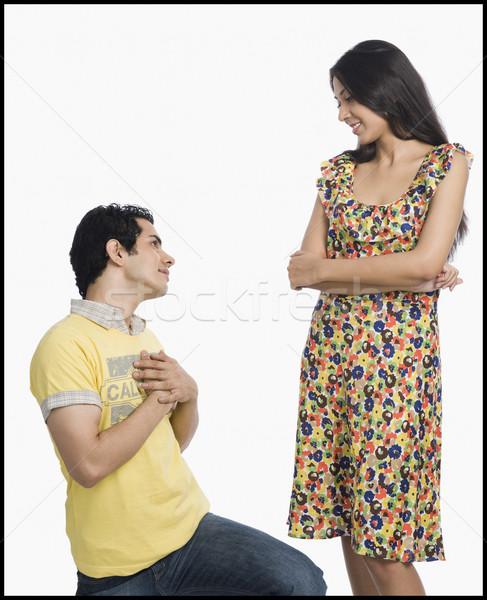 Mann Liebe Jeans Romantik Glück stehen Stock foto © imagedb