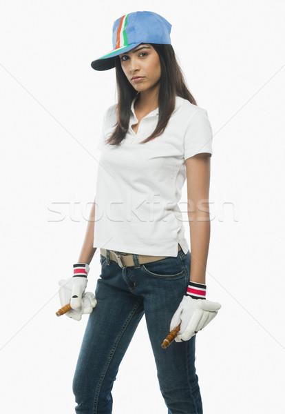 Portret vrouwelijke cricket fan vrouw Stockfoto © imagedb