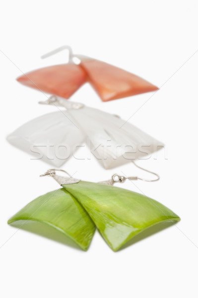 Közelkép három fülbevalók indiai zászló színek Stock fotó © imagedb