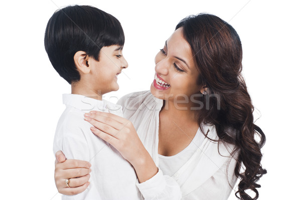 Photo stock: Heureux · mère · fils · souriant · famille · parents