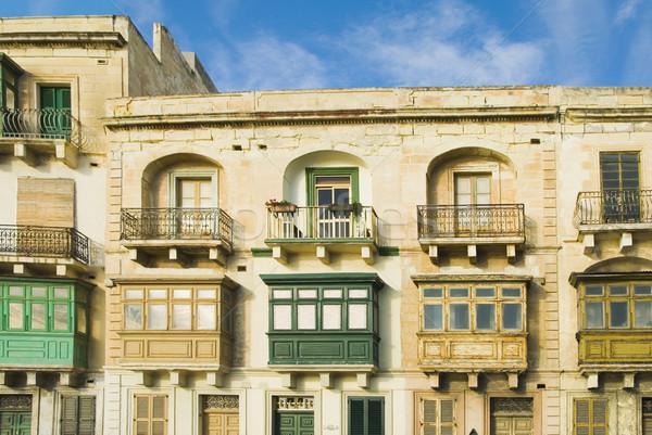 Ablakok épület égbolt város utazás építészet Stock fotó © imagedb