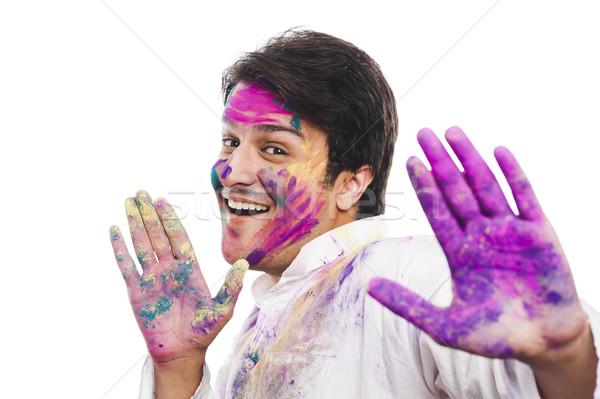 Portrait of a man celebrating Holi Stock photo © imagedb