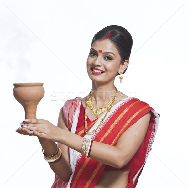 традиционный женщину молиться улыбаясь красивой счастье Сток-фото © imagedb