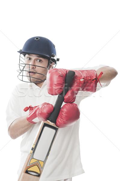 Oynama kriket adam spor genç ayakta Stok fotoğraf © imagedb