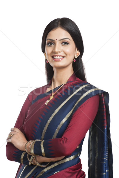 по традиции индийской женщину позируют молодые улыбаясь Сток-фото © imagedb