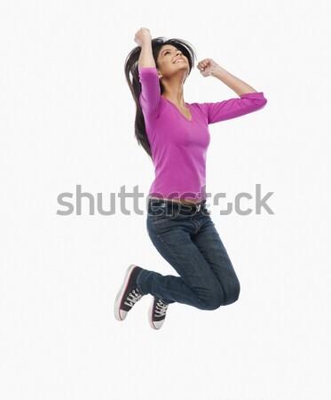 Foto stock: Mulher · saltando · diversão · jovem · feminino