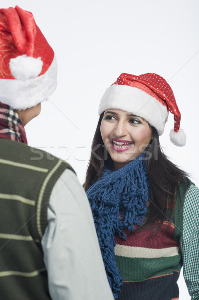 женщину Hat улыбаясь дружок Сток-фото © imagedb