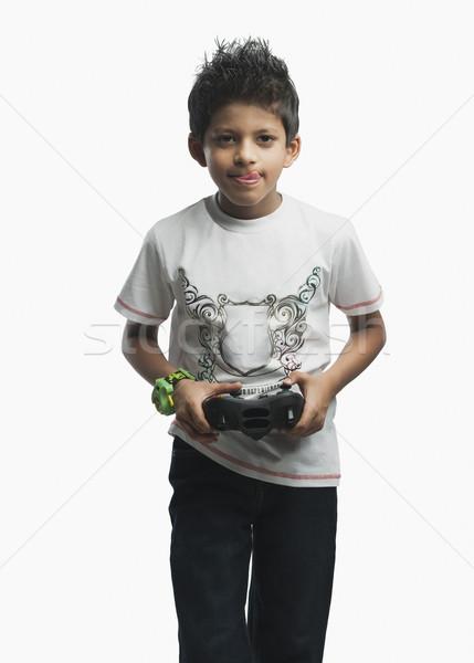 Portrait garçon jouer jeu vidéo enfant technologie Photo stock © imagedb