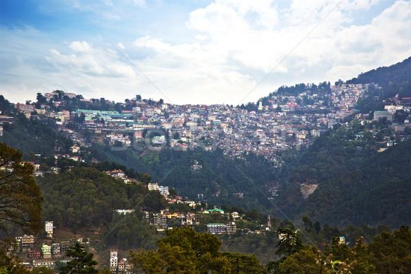 Magasról fotózva kilátás épületek hegy ház fa Stock fotó © imagedb