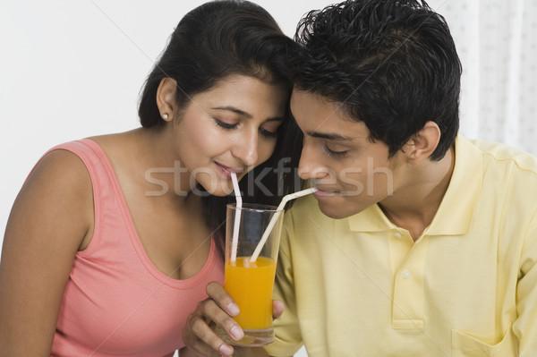 пару разделение сока человека стекла питьевой Сток-фото © imagedb