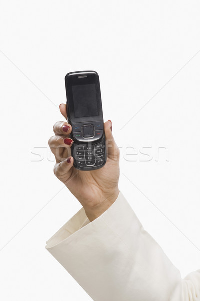 Primer plano mano teléfono móvil negocios tecnología Foto stock © imagedb