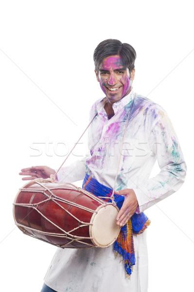Człowiek gry muzyki farby zabawy Zdjęcia stock © imagedb