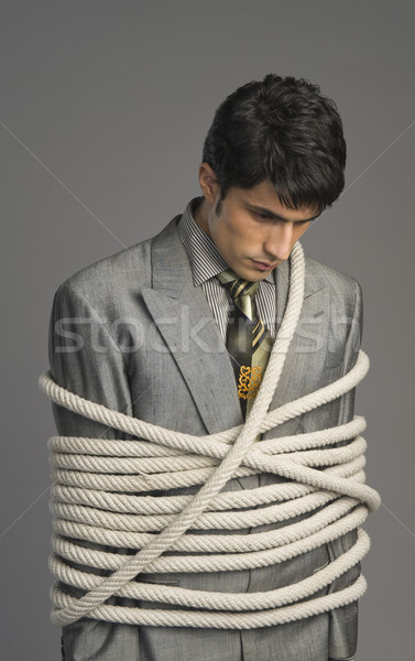 бизнесмен вверх Веревки бизнеса человека Сток-фото © imagedb