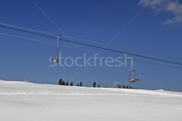 Ski lifts over snow covered landscape, Kashmir, Jammu And Kashmi Stock photo © imagedb