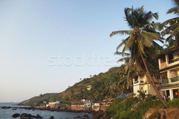 épületek part Goa India víz kő Stock fotó © imagedb