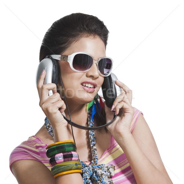 красивой наушники женщину моде Сток-фото © imagedb