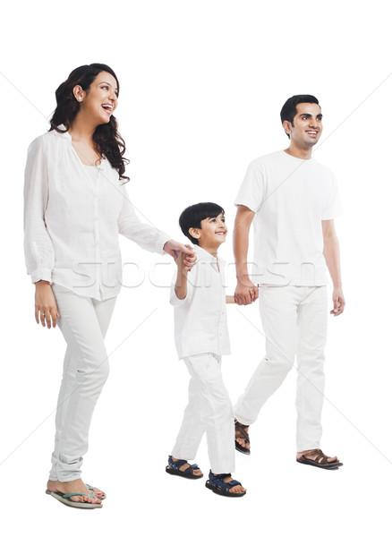 Heureux parents fils mains tenant famille père Photo stock © imagedb