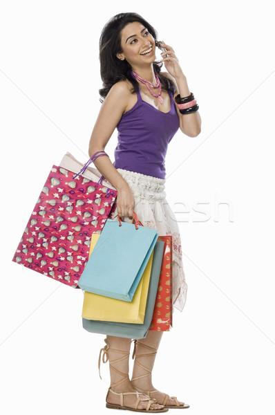 Mujer hablar teléfono móvil retrato Foto stock © imagedb