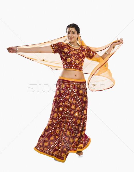 Nő tánc fényes piros portré mosolyog Stock fotó © imagedb
