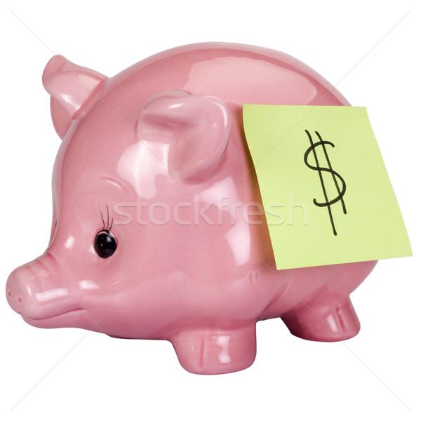 знак доллара клей сведению Piggy Bank бизнеса Сток-фото © imagedb