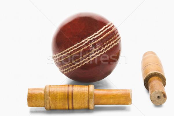 Primo piano cricket palla legno rosso nuovo Foto d'archivio © imagedb