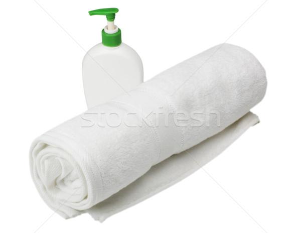 Handdoek zeep fles plastic moderne Stockfoto © imagedb
