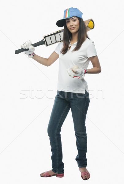 Stok fotoğraf: Portre · kadın · kriket · fan · bat