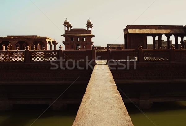 Voetbrug vijver paleis hemel water verbinding Stockfoto © imagedb